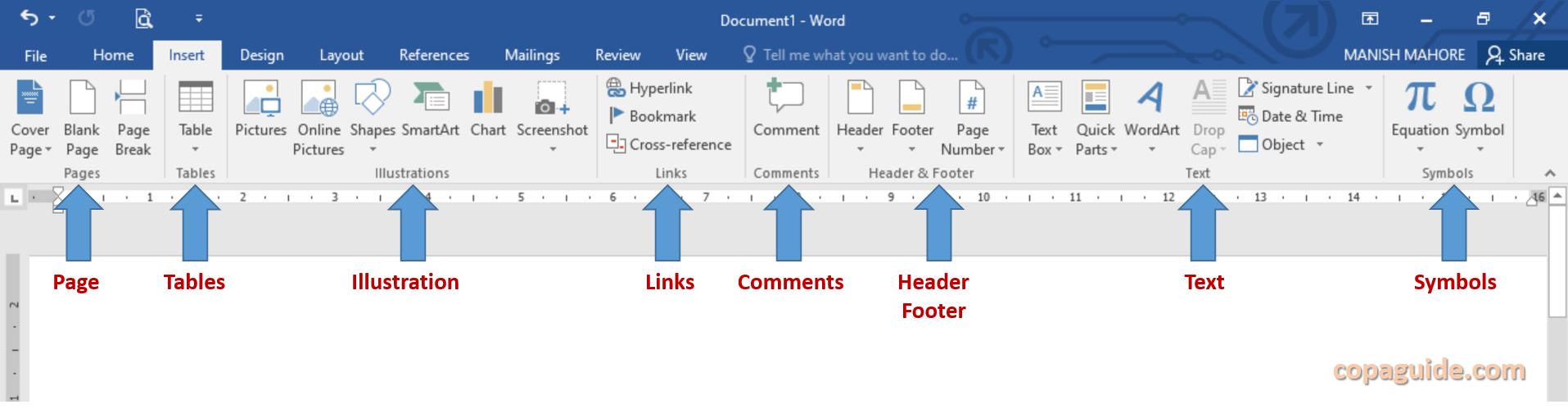 MS Word Insert Tab Commands