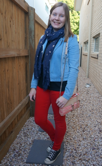 double denim jacket with red skinny jeans navy star print scarf striped bag | awayfromblue