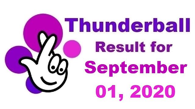 Thunderball Results for Tuesday, September 01, 2020