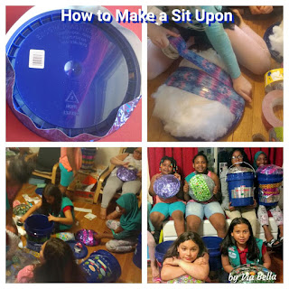 How to Make a Sit Upon, girl scouts, gscnc, troop 5823, crafts, camping, sit a upon, camp, pillow, storage