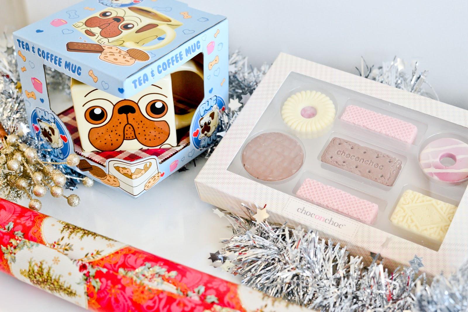 pug mug, biscuit chocolates