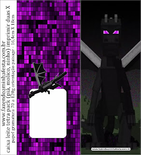 Minecraft Ender Dragon Free Printable Candy Bar Label.
