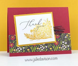 Stampin' Up! Sale-a-Bration Favorites: Corner Bouquet Thank You Card ~ www.juliedavison.com #stampinup #saleabration
