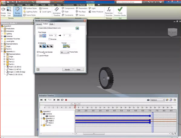 3d Animation Wheel And Track Inventor