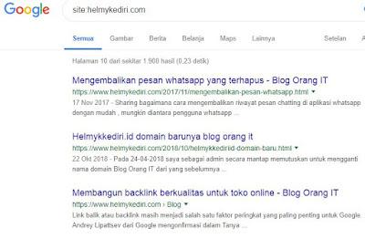 Apakah situs anda saat ini ada digoogle?