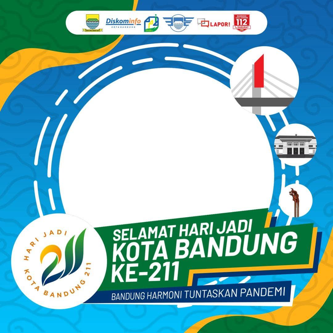 Desain Frame Bingkai Twibbon Peringatan Ulang Tahun Kota Bandung ke-211 Tahun 2021