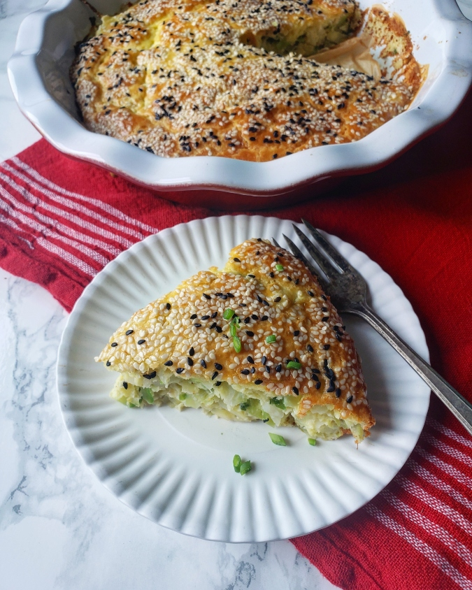 Cabbage and scallion pie