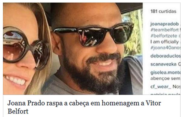 Ex 'feiticeira' Joana Prado raspa a cabeça em homenagem ao marido Vitor Belfort