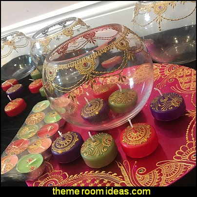 Henna candles  moroccan party decorations arabian nights party decor