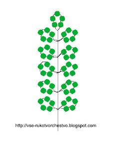 Белая акация из бисера схема плетения листа