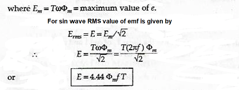 emf equation transformer  derivation