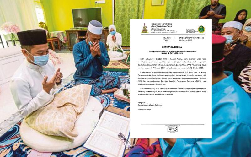 Tangguh Majlis Akad Nikah Di Daerah Klang Bermula 12 Oktober 2020