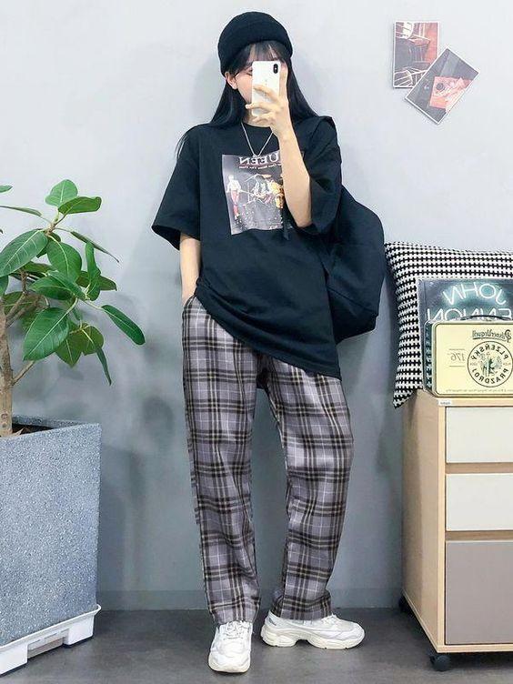 Roupas estilo coreano com calça xadrez