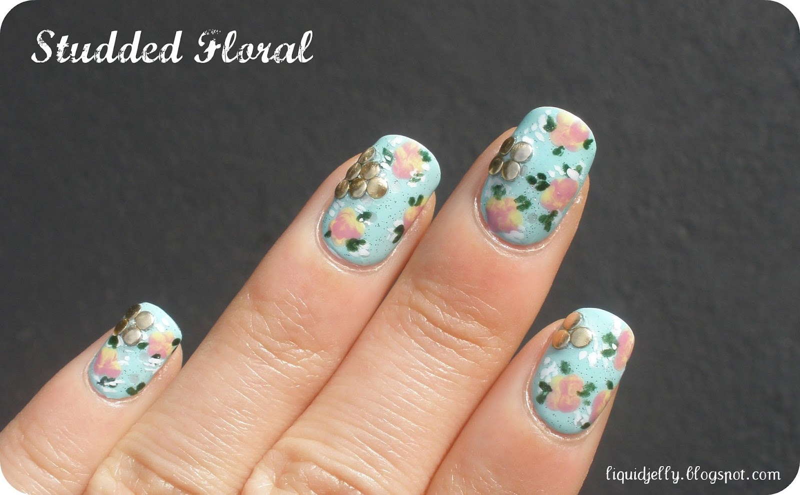 Liquid Jelly: Floral Nail Art with BPS Studs