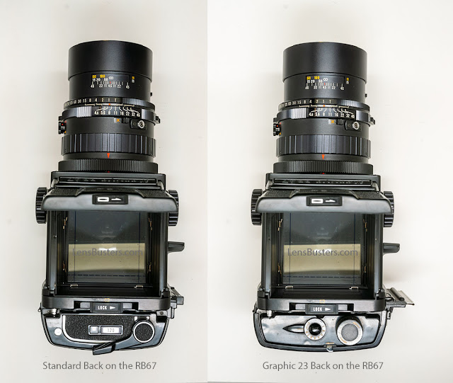 The Mamiya RB67 Pro with Mamiya back (left) and Graphic 23 back (right)