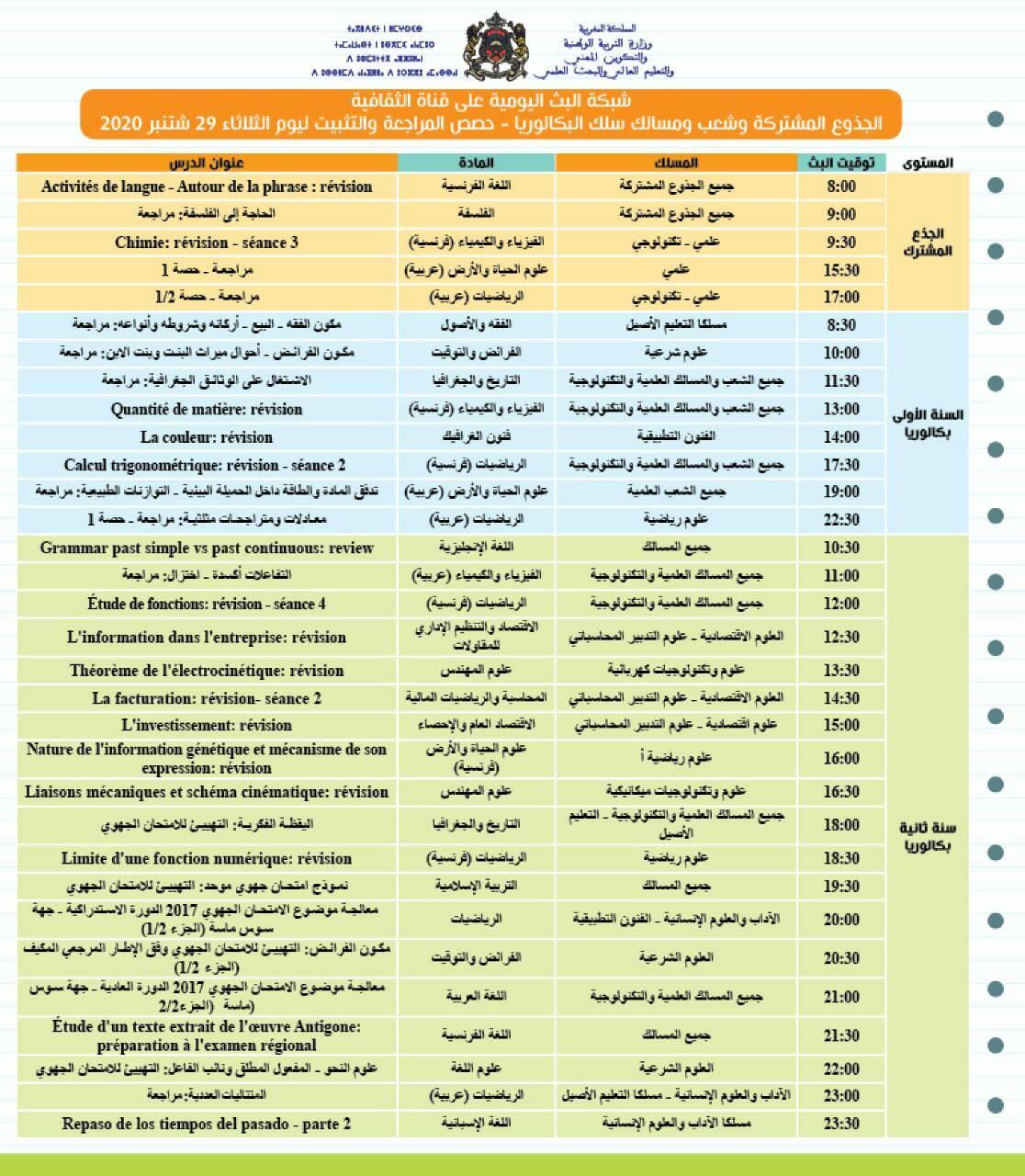 حصص المراجعة والتثبيت ليوم الثلاثاء 29 شتنبر 2020 على قنوات الثقافية والعيون و الأمازيغية