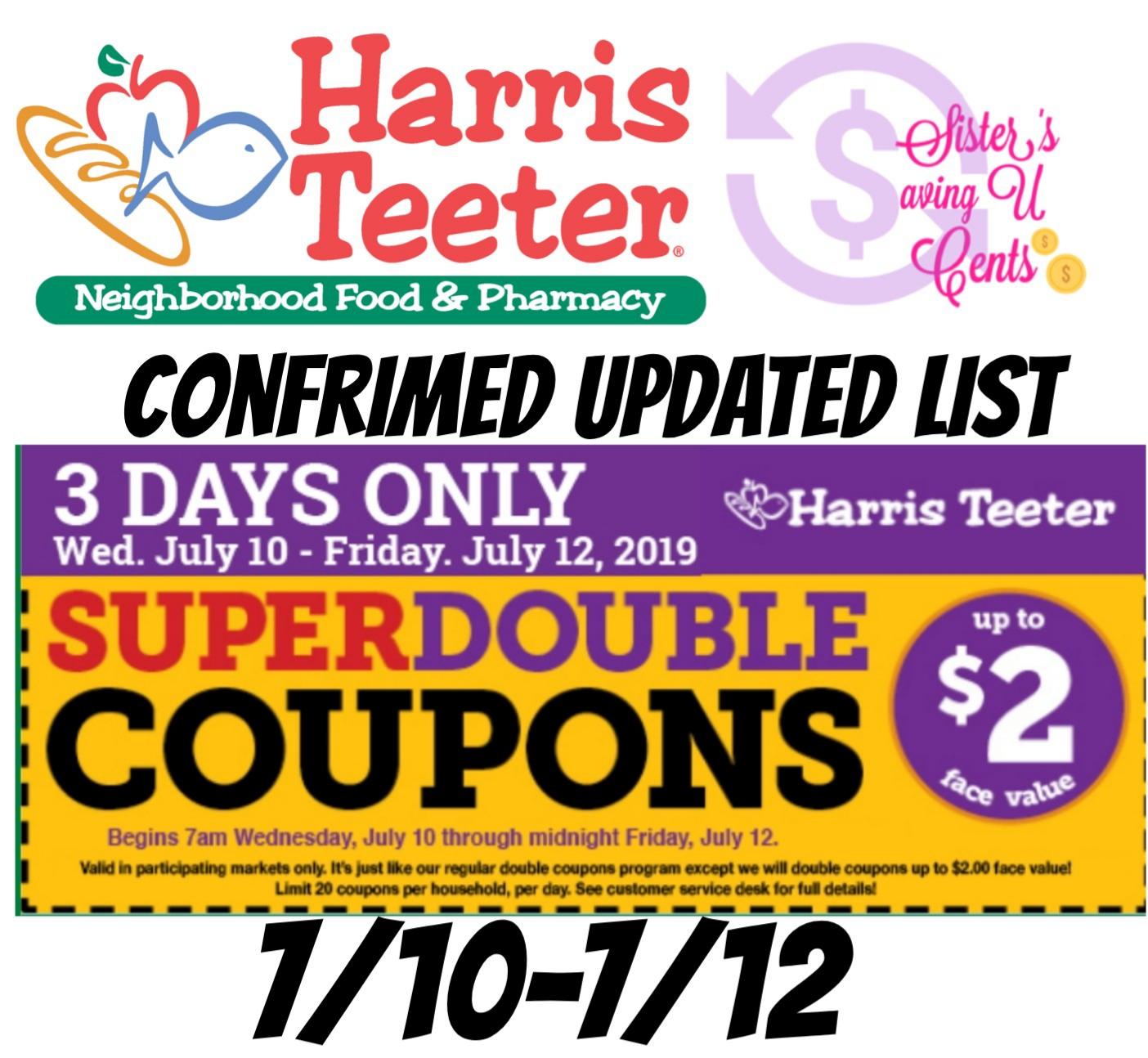 Harris Teeter Super Doubles Confirmed 7 10 7 12 Updated List