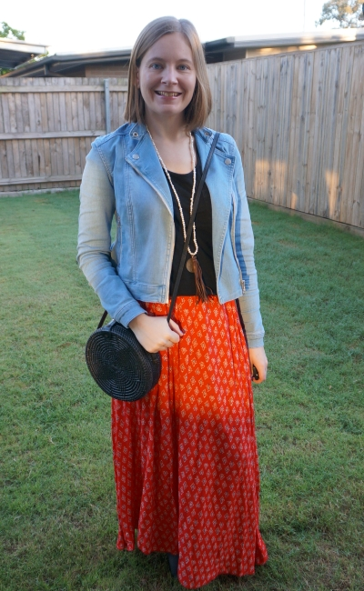 denim jacket, plain black tee, red boho printed maxi skirt, straw circle bag winter SAHM style | awayfromblue