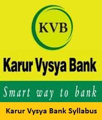 Karur Vysya Bank Syllabus