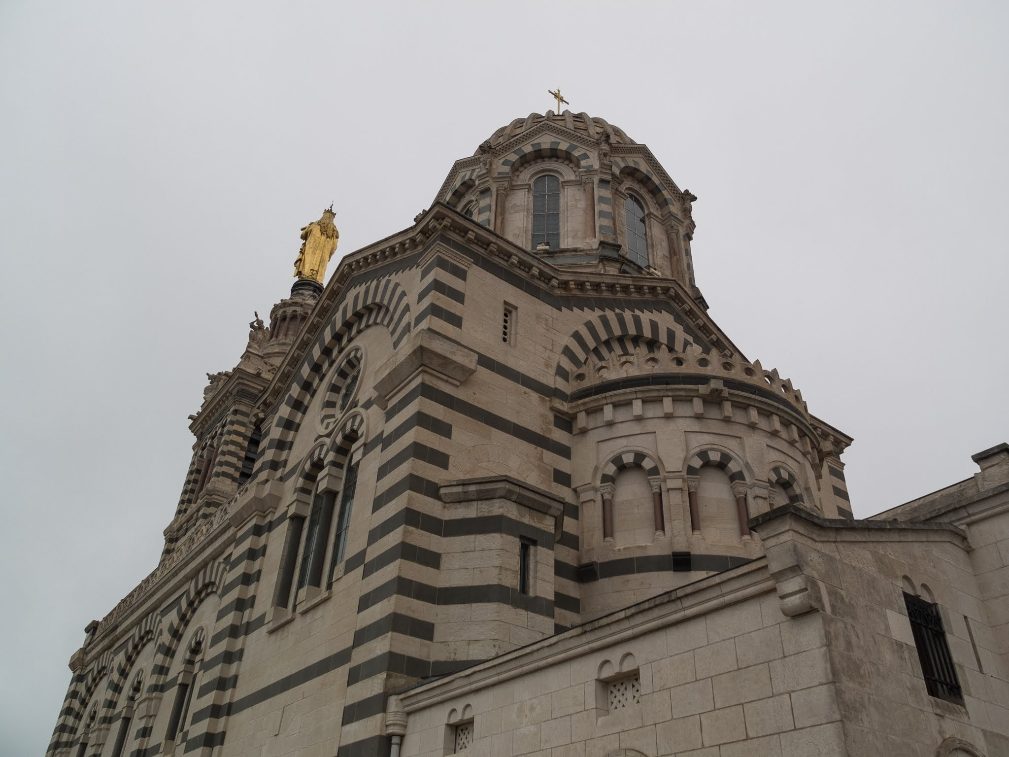 Looking up at the back of the Basilica of Notre Dame de la Garde.