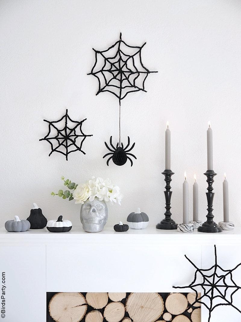DIY Décor Moderne d'Halloween - Projets d'artisanat monochrome neutre, noir et blanc pour un décor d'Halloween facile et peu coûteux!
