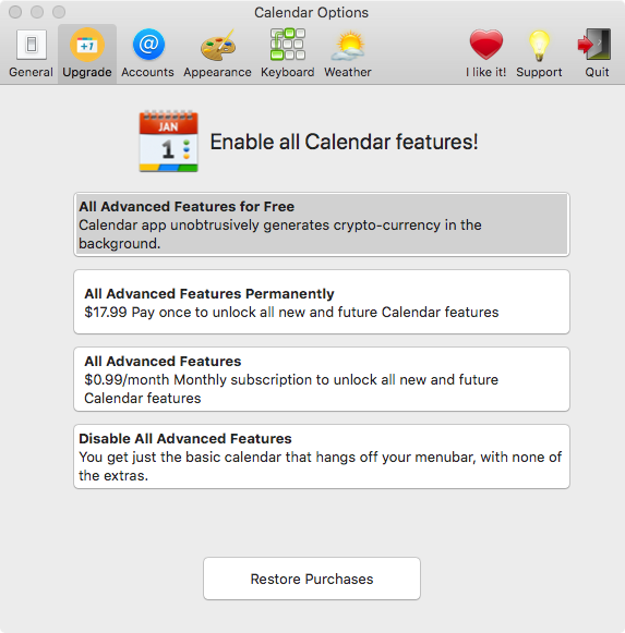 MAC Calendar App Mines Cryptocurrency in Exchange for Free Access to Premium Account