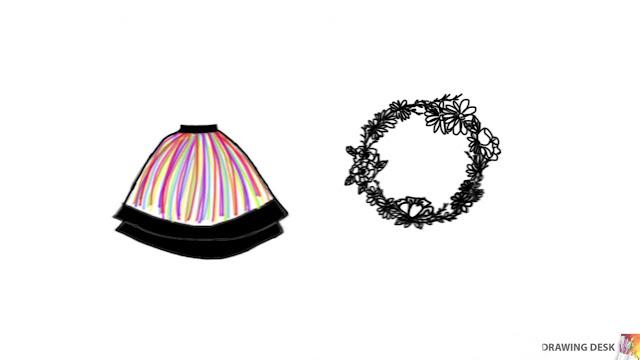 Ilustracja elementów ślubu ludowego - wianek i spódnica ze stroju ludowego.
