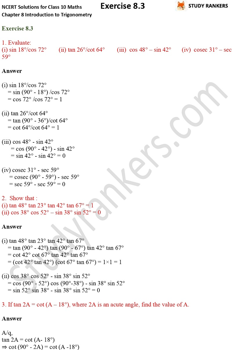 NCERT Solutions for Class 10 Maths Chapter 8 Introduction To Trigonometry Exercise 8.3 Part 1