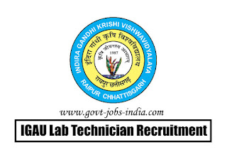 IGAU Lab Technician Recruitment 2020