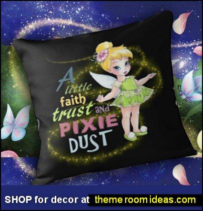 TINKERBELL decor tinkerbell bedroom decor Baby Tinker Fairy Faith Trust and Pixie Dust Throw Pillow