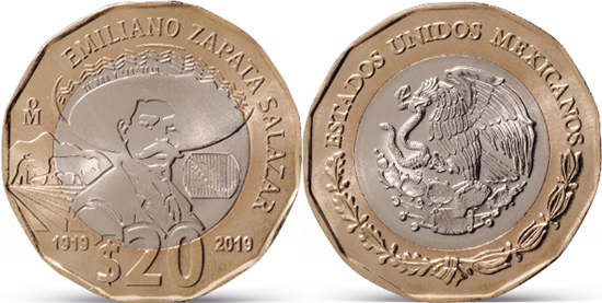 Mexico 20 pesos 2019 - Death Centenary of Emiliano Zapata Salazar