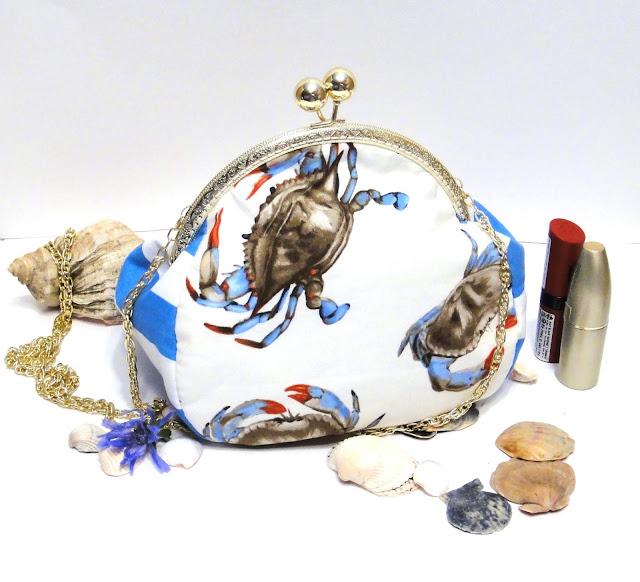 Летняя женская сумка на цепочке: натуральный хлопок, фермуар и цепь под золото. Ручная работа, единственный экземпляр