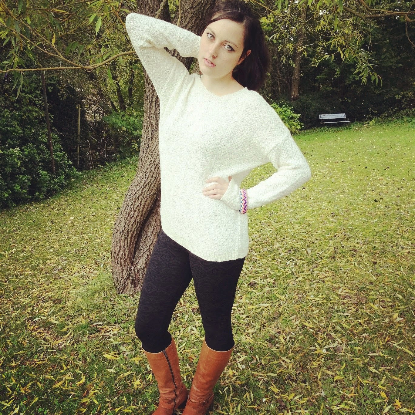 cosy knitwear autumn fashion post in the forest of dean