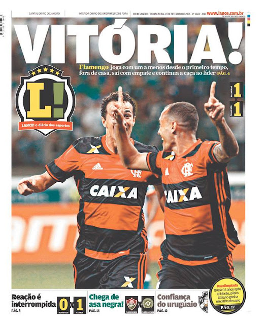 Flapress: Segundo a capa do jornal Lance Flamengo venceu Palmeiras por 1 x 1