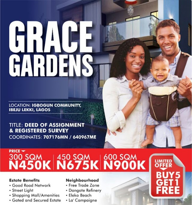 GRACE GARDENS PHASE 2, IGBOGUN, IBEJU LEKKI, LAGOS (LAND FOR SALE)