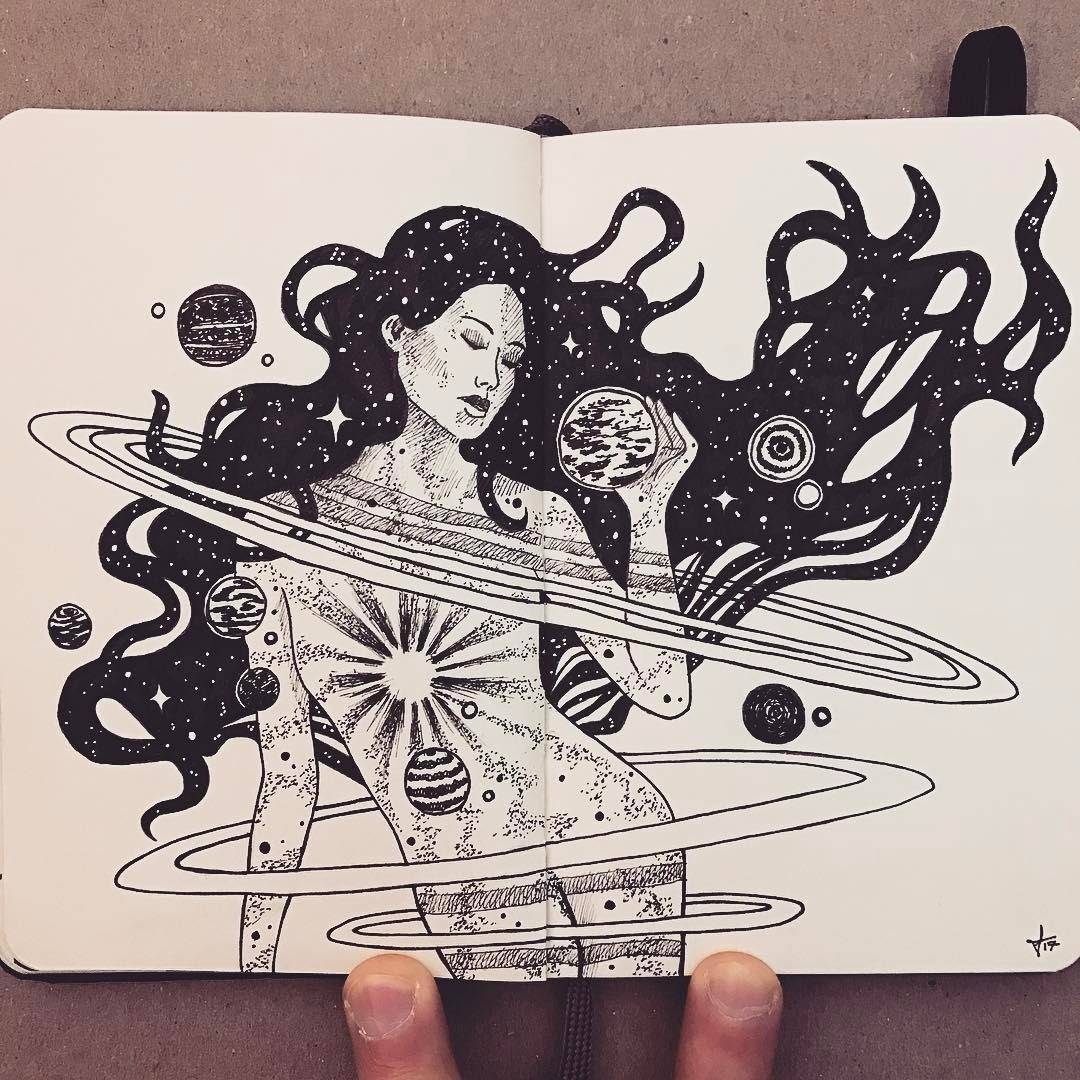 10-The-Universe-in-Us-Francisco-Del-Carpio-Moleskine-Black-and-White-Ink-Drawings-www-designstack-co