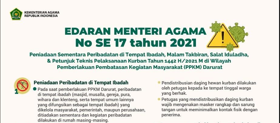 SE Menteri Agama Nomor 17 Tahun 2021