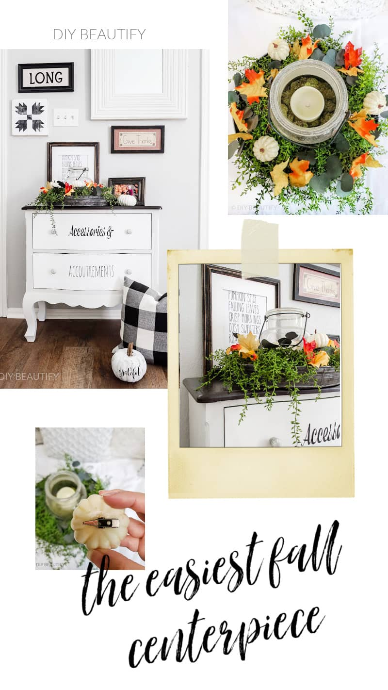 collage of fall centerpiece