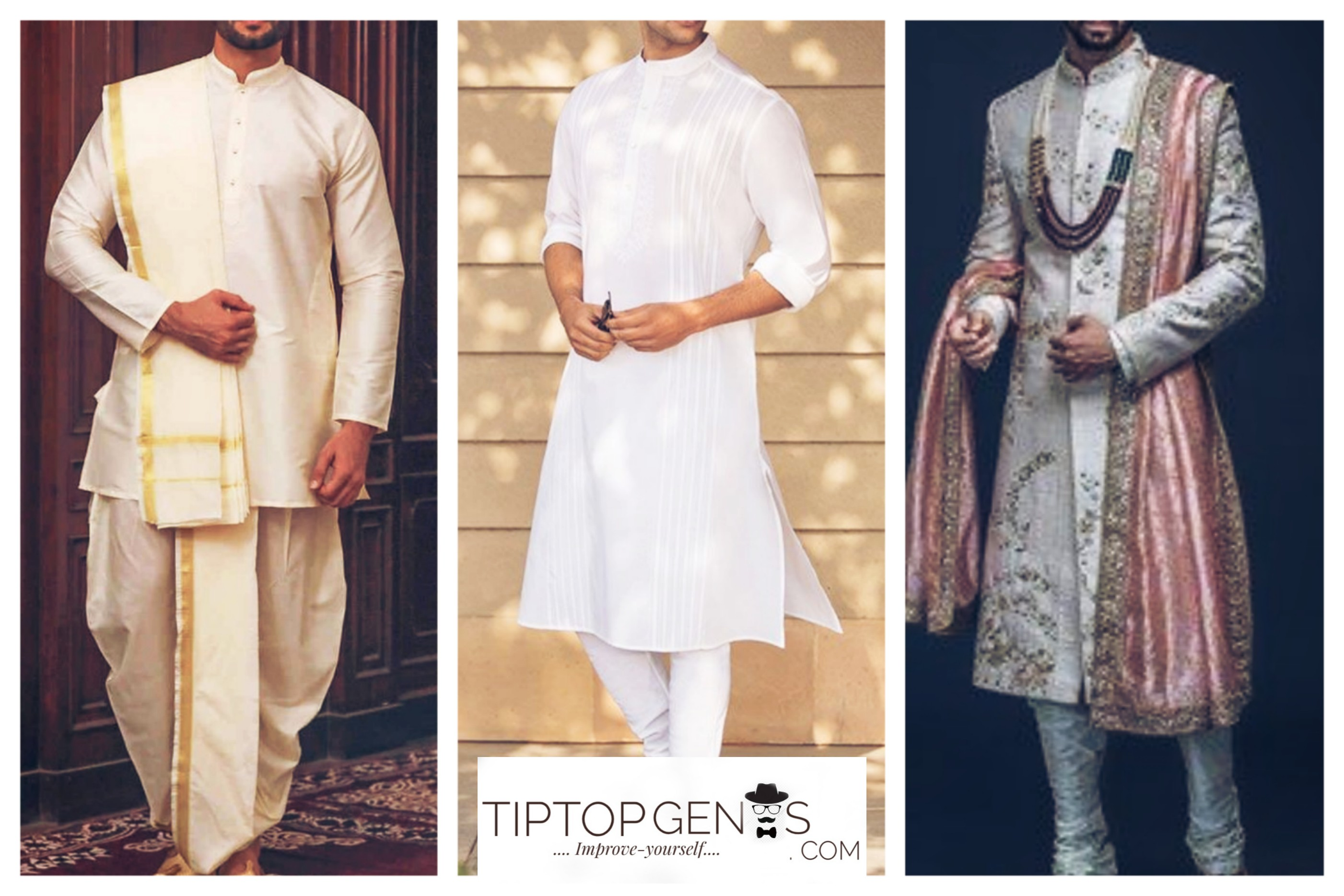 Three different traditional wears, worn by Indian men.