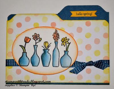 File Folder card, Envelope punch board, Vivid Vases, Hand Stamped Senitment, spring, Stamp with Trude, Stampin' Up!
