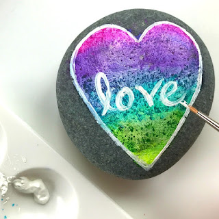 easy painting ideas - how to paint a simple rainbow love rock