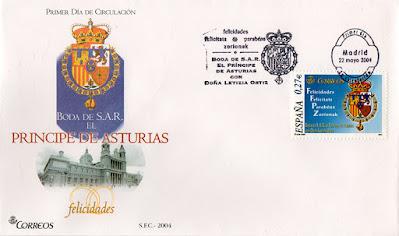 matasellos, PDC, sello, filatelia, sobre, boda, Príncipes, Asturias