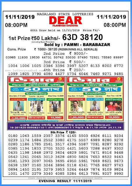 Lottery sambad 11-11-2019 Nagaland State Lottery Result 08.00 PM-sambadlottery.org