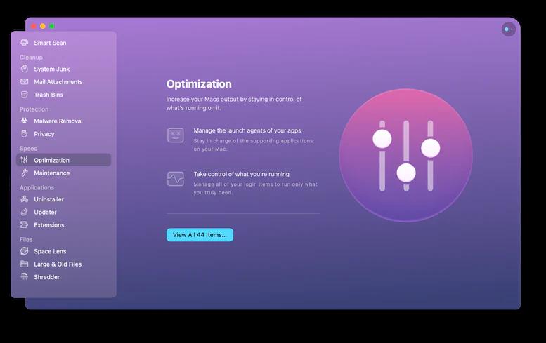 CleanMyMac X Hızlandırma Araçları
