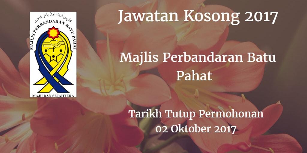 Jawatan Kosong MPBP 02 Oktober 2017