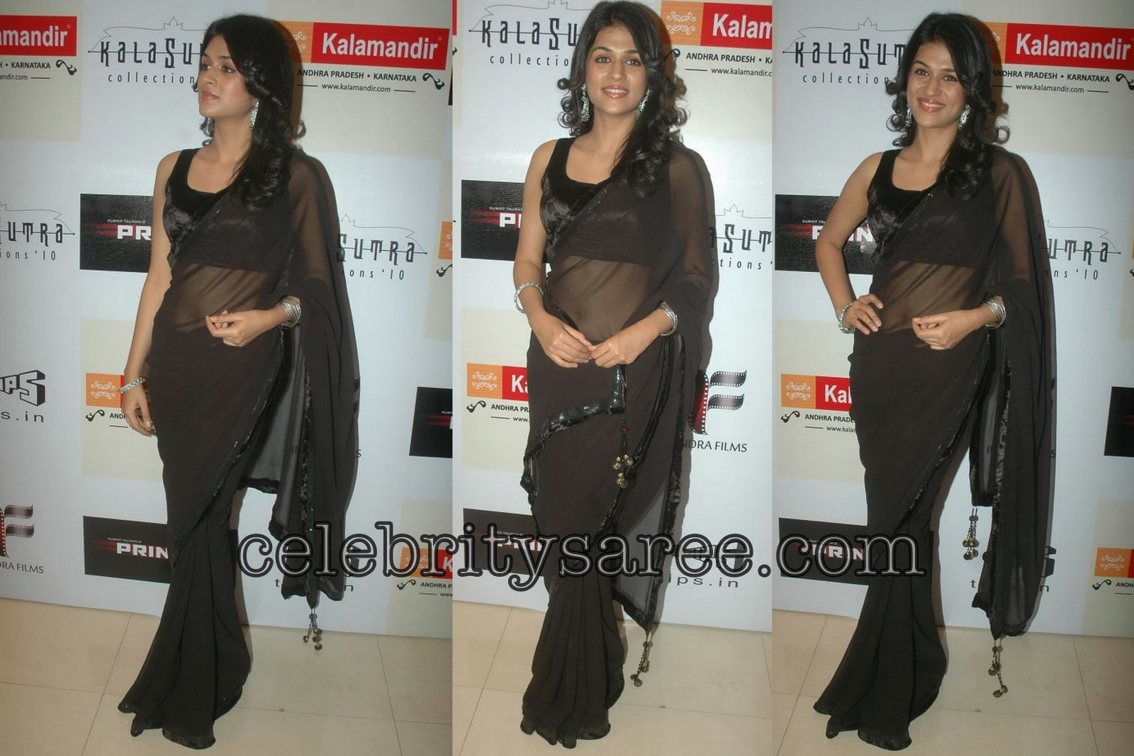 7741d0e018b90c South Indian actress Sradda Das in black plain Georgette saree with small  velvet border and paired with sleeve less velvet blouse.