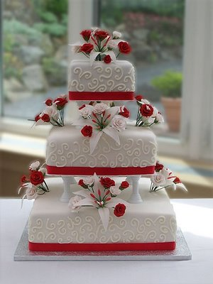 red and white square wedding cakes pasteles de boda oto 241 o 2011 rojos bodas 19094