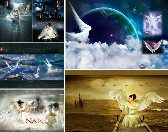 Dream Wings Angels PSD Backgrounds
