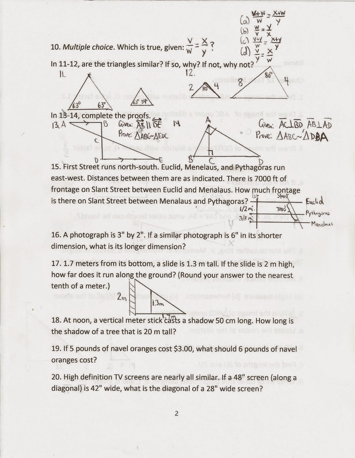 Geometry Common Core Style Review For Chapter 11 12 Test