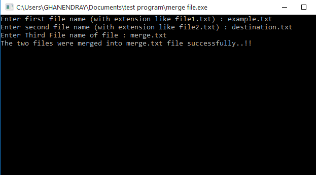 C++ Program to Merge Two Files Into Third File Using File Handling